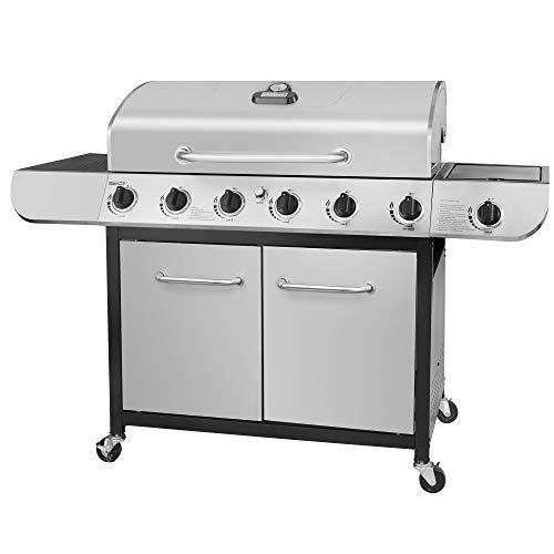 Royal Gourmet SG6002 Cabinet Propane Gas Grill with Side Burner, 71,000 BTU, 6-Burner, Stainless Steel