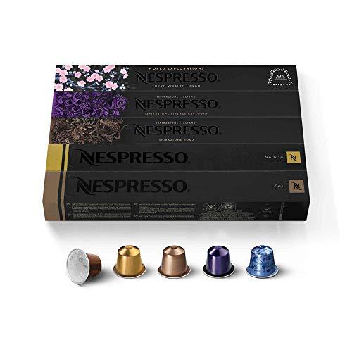 Nespresso Capsules OriginalLine Ispirazione Variety Pack Mild Medium Dark Roast Coffee Coffee Pods Brews 1.35 oz, Espresso, 50 Count