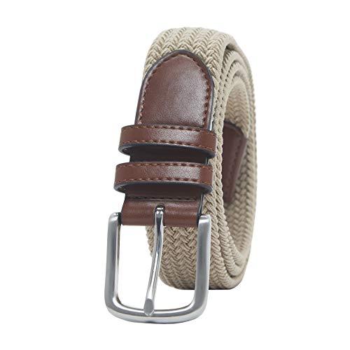 Amazon Essentials Men's Stretch Woven Braid Belt, Khaki, 36
