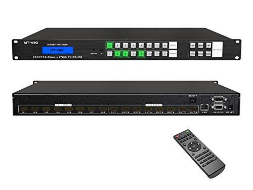 MT-VIKI 8x8 HDMI Matrix Switch 8 in 8 Out 4K@30Hz, Rack Mount Switcher & Splitter with Backlit RS232 LAN Port