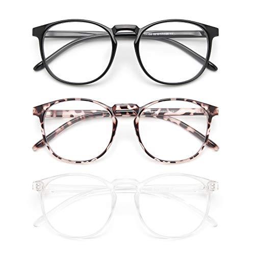 IBOANN 3 Pack Blue Light Blocking Glasses Women/Men, Round Fashion Retro Frame, Vintage Fake Eyeglasses with Clear Lens(Light Black & Leopard & Tranparent, Clear)