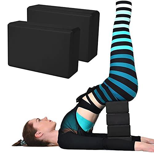 2 Pack Yoga Blocks, High Density EVA Foam Brick Soft Non-Slip Surface Exercise Bricks Stability and Balance for Yoga, Pilates, Meditation, Aid Balance(Black)