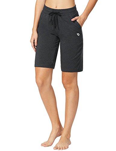 BALEAF Women's Active Bermuda Shorts Cotton Sweat Pants Gym Workout Yoga Lounge Long Shorts with Pockets Charcoal Size L