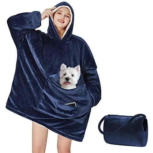 Yescool Wearable Blanket Hoodie, Oversized Sherpa Hooded Blanket Sweatshirt, Giant Warm Fuzzy Fleece Lounging Blanket with Hood Sleeves Pocket, Soft Comfort Packable for Women Men Adults (Blue)