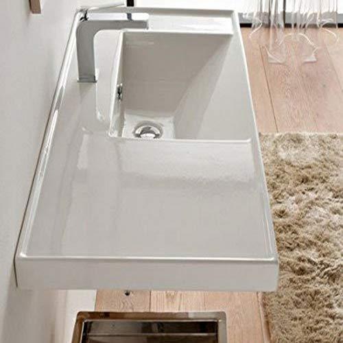 Scarabeo 3009-One Hole ML Rectangular Ceramic Self Rimming/Wall Mounted Bathroom Sink, White