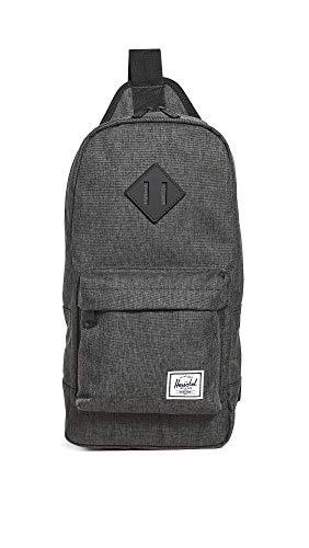 Herschel Heritage Shoulder Bag Backpack, Black Crosshatch, One Size 8.0L