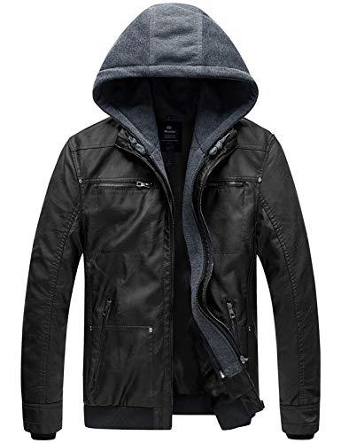 Wantdo Men's Spring Motorcycle Leather Jacket with Hood Bomber Coat Medium Black(Moderate)