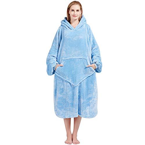 Bobor Blanket Hoodie, Oversized Sweatshirt Wearable Fleece Blanket with Large Front Pocket for Adults, Men, Women, and Kids, Fuzzy, Fluffy, Plush, Soft, Cozy, Warm Flannel Blanket (Blue, Adult)