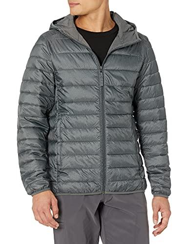 Amazon Essentials Men's Lightweight Water-Resistant Packable Hooded Puffer Jacket, Charcoal Heather, Medium