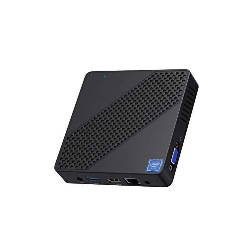 Mini PC Intel Celeron N4000(up to 2.6GHz), DDR4 4GB/64GB eMMC Mini PC Fanless UHD 4k@60Hz, Mini Computer Support HDMI2.0a&VGA, USB3.0, 2.4/5.8G Wi-Fi, DIY NGFF 2242 SSD, Auto Power On