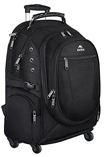 Rolling Backpack,Matein Large College Wheeled 15.6 inch Laptop Backpack for Men Women,Removable Wheels Business Travel Backpack,Roller School Backpack for Girl Boy,Carryon Computer Rolling Bag,Black