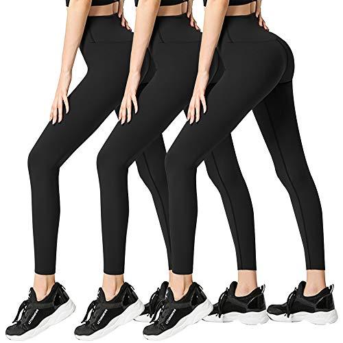 3 Pack Womens Leggings-No See-Through High Waisted Tummy Control Yoga Pants Workout Running Legging-Reg&Plus Size (3 Pack Black,Black,Black, Small-Medium)