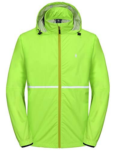 Little Donkey Andy Men's Rain Running Jackets Cycling Windbreakers Lightweight Reflective Windproof Fluorescent Yellow XL