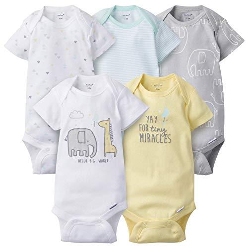 Gerber Baby 5-Pack Variety Onesies Bodysuits, Elephant Dream, Newborn