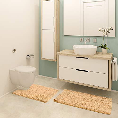 Bathroom Rugs Chenille 2-Piece Bath Mat Set, Includes U-Shaped Contour Toilet Mat and Bath Mat ,Machine Washable (Beige)