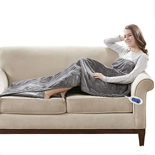 Beautyrest Foot Pocket Soft Microlight Plush Electric Blanket Heated Throw Wrap with Auto Shutoff, 50x62, Grey