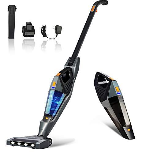 Cordless Vacuum, Hikeren 12Kpa Powerful Suction Lightweight Stick Handheld Vacuum Cleaner for Home Hard Floor Carpet Car Pet with Led Light&HEPA Filter