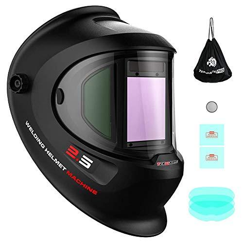 Tekware Large Viewing True Color Solar Powered Auto Darkening Welding Helmet with SIDE VIEW, 4 Arc Sensor Wide Shade 4/5-9/9-13 Welder Mask for TIG MIG ARC Grinding Plasma