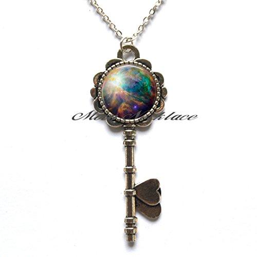 Charm Key Necklace,Orion Nebula Key Pendant, nebula jewelry, astronomy Key Pendant, cosmic jewelry, cosmic Key Pendant outer space jewelry nebula-ZE250