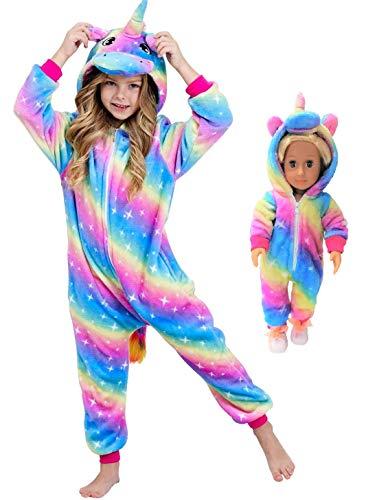 Unicorn Pajamas Onesie Costume Matching Doll & Girls Gifts (Moonbluerose, 5-6Years)
