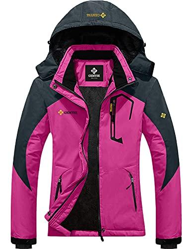 GEMYSE Women's Mountain Waterproof Ski Jacket Windproof Snow Coat With Hood (Rose Grey,X-Large)