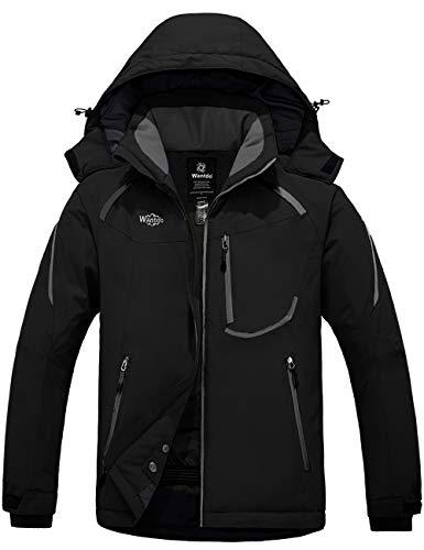 Wantdo Mens Mountain Waterproof Ski Jacket Winter Windproof Rain Jacket Black XL
