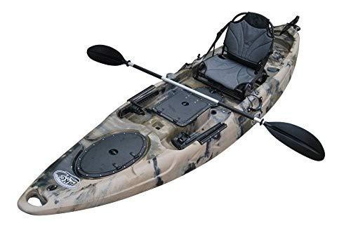 BKC RA220 11.6 ft Single Fishing Kayak W/Upright Back Support Aluminum Frame Seat, Paddle, Rudder Included Solo Sit-On-Top Angler Kayak Yellow/Orange (Green Camo)