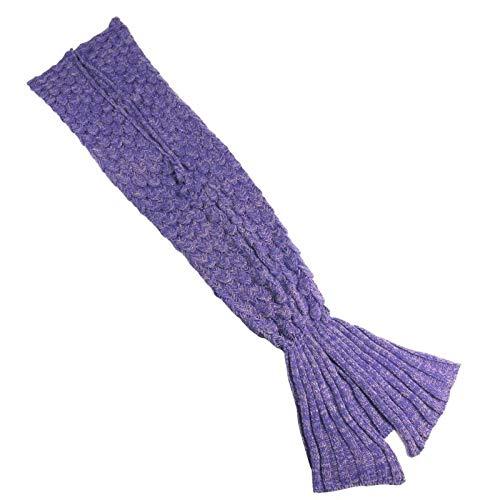 Handmade Knitted Mermaid Tail Blanket Crochet, Vhouse All Seasons Warm Bed Blanket Sofa Quilt Living Room Sleeping Bag for Adult (70-80)'× 35.5'(Purple)