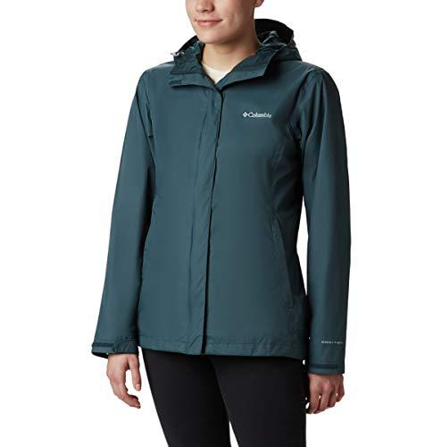 Columbia Women's Arcadia II Waterproof Breathable Jacket with Packable Hood, Dark seas, Medium