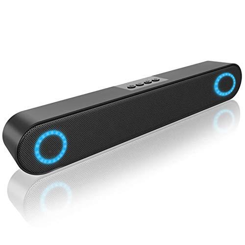 LENRUE Computer Speaker, PC Wired Desktop Sound Bar with LED Lights, Stereo Sound USB Powered for Desktop, Laptop, Mac, iMac, Tablets and More (Black)