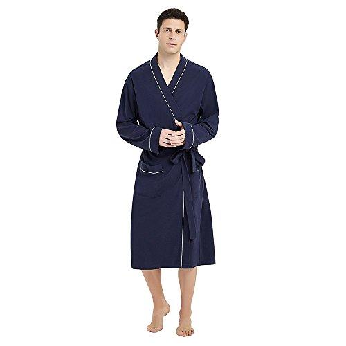U2SKIIN Mens Cotton Robe Lightweight Knit Bathrobe(Navy Blue, S/M)