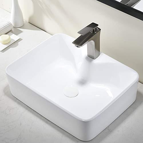 Comllen Modern Above Counter White Porcelain Ceramic 18.9'X14.5' Bathroom Vessel Sink,Durability And Stain Resistance Ceramic Sink Art Basin