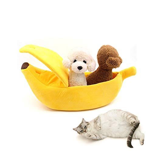 SEIS Winter Cat Banana Bed Dog House Warm Boat Pet Sleep Nest Cotton Cushion Coral Fleece Dog Pad Cat Mat (M)