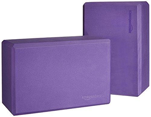 Amazon Basics Foam Yoga Blocks - 4 x 9 x 6 Inches, Set of 2, Purple