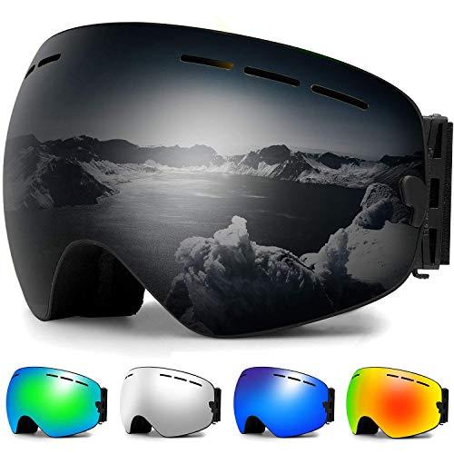 Ski Goggles, Snowboard Goggles Over Glasses, Anti Fog UV Protection Snow Goggles OTG Interchangeable Lens for Men Women Snowmobile, Skiing, Skating, Black