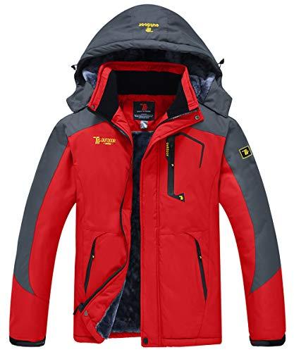JINSHI Men's Snow Jacket Waterproof Ski Jackets Winter Hooded Mountain Fleece Jacket (Red,L)