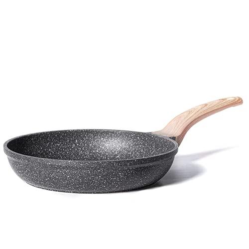Carote 8 Inch Nonstick Skillet Frying Pan Egg Pan Omelet Pan, Nonstick Cookware Granite Coating,Black