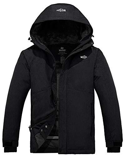 Wantdo Men's Waterproof Snow Jacket Cotton Padded Winter Ski Raincoat Black S