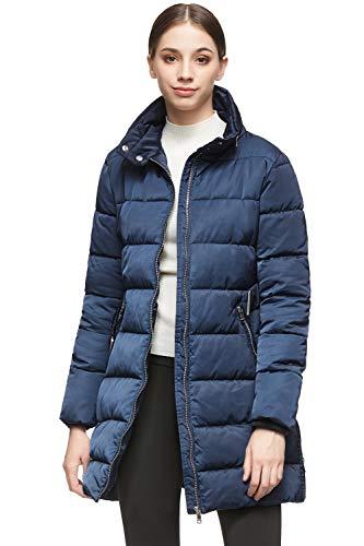 Orolay Women Warm Cotton-Padded Jacket with Waist Belt Coat Navy 2XL
