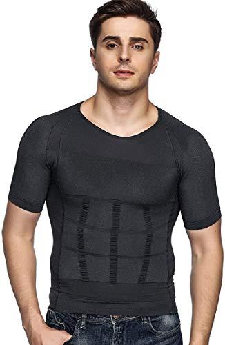 Odoland Men's Body Shaper Slimming Shirt Tummy Vest Thermal Compression Base Layer Slim Muscle Short Sleeve Shapewear, Grey M