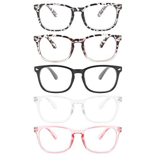 MIGSIR 5 Pack Blue Light Blocking Glasses Women Men, Fashion Computer Gaming UV Eyeglasses Nerd Fake Costume Square Frame (5 Pairs Mix)