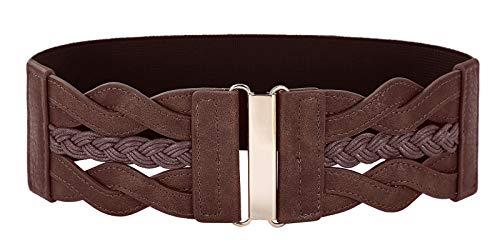 Women's Elastic Vintage Belt Stretchy Retro Wide Waist Cinch Belt(Coffee,2XL)