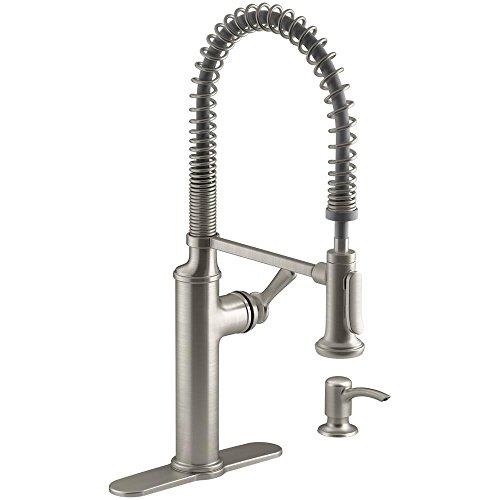 Kohler K-R10651-SD-VS Sous Pro-Style Single-Handle Pull-Down Sprayer Kitchen Faucet in Vibrant Stainless