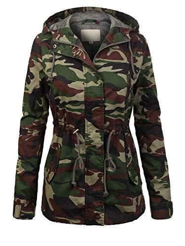 Design by Olivia Women's Military Anorak Safari Hoodie Jacket Army Camo2 L