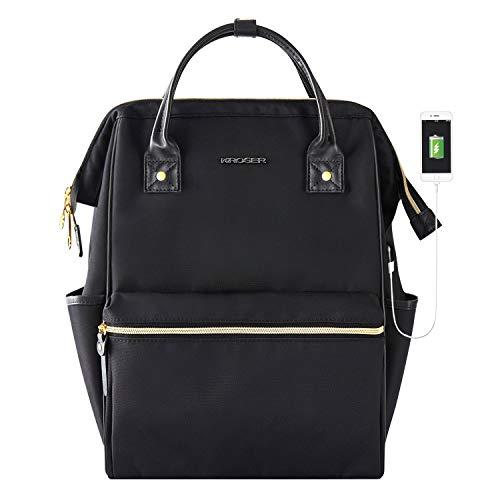 KROSER Laptop Backpack 14.1 Inch Stylish School Computer Backpack Casual Daypack Laptop Bag Water Repellent Nylon Business Bag Tablet with USB Port for Travel/Business/College/Women/Men-Black