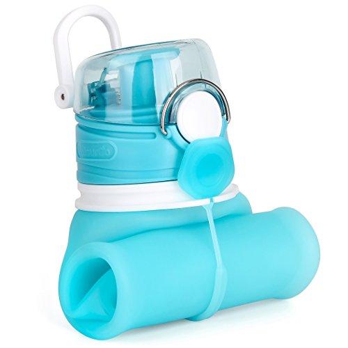 Valourgo Collapsible Water Bottle, Silicone Foldable with Leak Proof Valve BPA Free, Aqua Blue, 21 oz