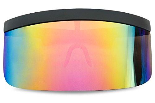 Matte Black Retro Futuristic Single Shield Color Oversized Visor Sunglasses (Matte Black, Fire Red Mirror)