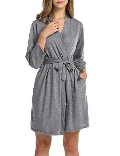 Hotouch Women's Knee Length Cotton Kimono Bathrobe, Short Spa Robes Heather Gray S