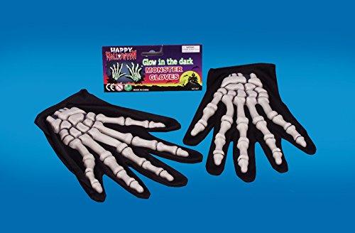 Star Power Glow in The Dark Skeleton 2pc Gloves, Glow Black, One-Size