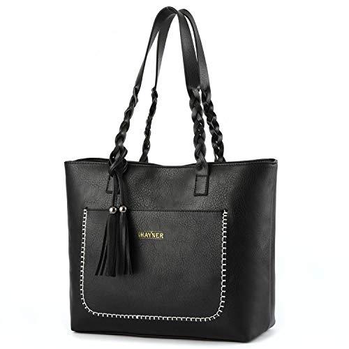Women Tote Bags Retro Shoulder Bag Purse Satchel Hobo Purse Zippred Waterproof Travel Handbags with Tassel (black)